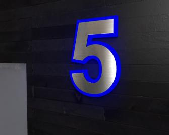 Beleuchtete-Led Edelstahl-Hausnummer 5