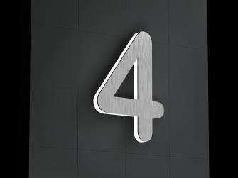 Beleuchtete-Led Edelstahl-Hausnummer 4