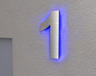 Beleuchtete Hausnummer 1 Ambilight
