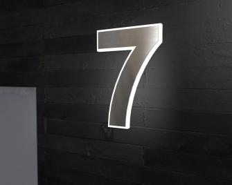 Beleuchtete-Led Edelstahl-Hausnummer 7