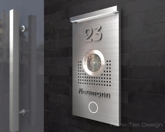 Video Türsprechanlage 12,5x20cm; mit 3D Beschriftung in Edelstahl