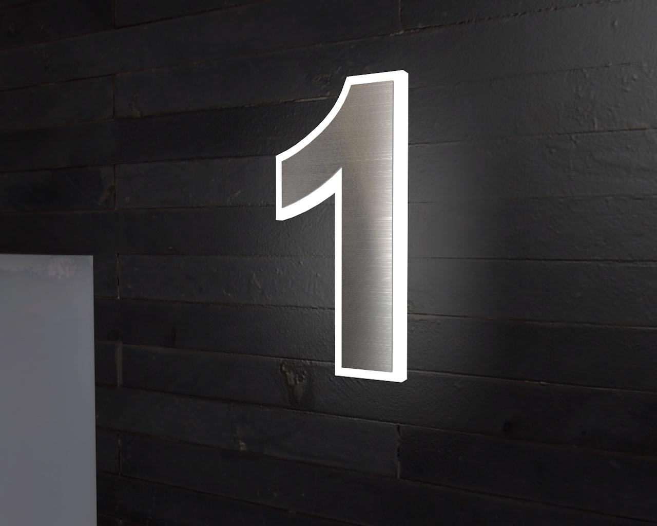 Beleuchtete-Led Edelstahl-Hausnummer 1