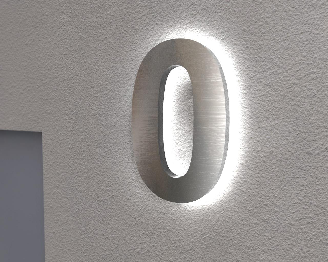 Beleuchtete Hausnummer 0 Ambilight