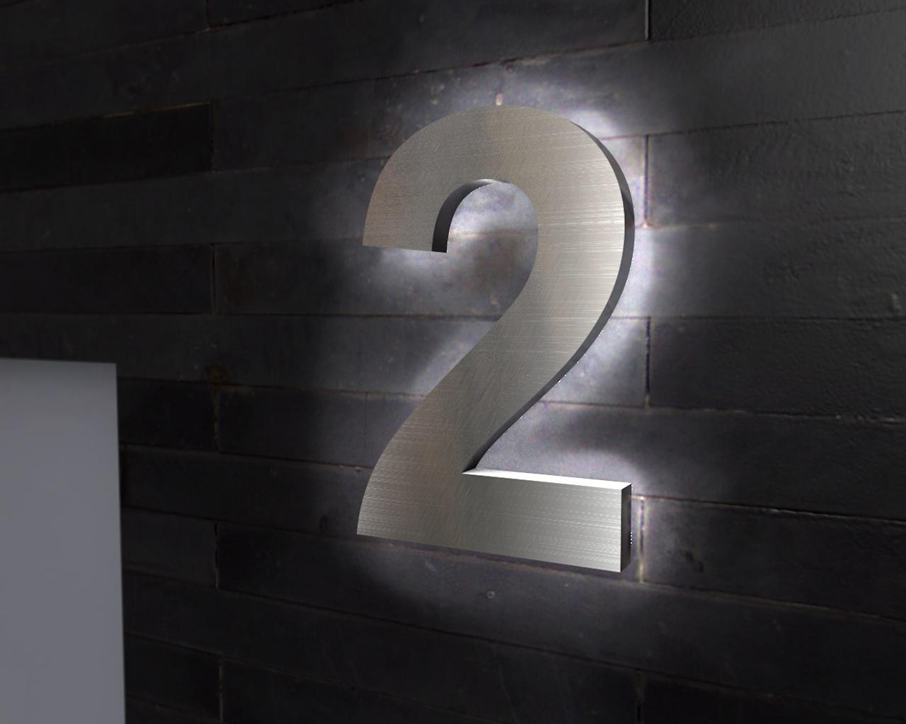 Beleuchtete Hausnummer 2 Ambilight