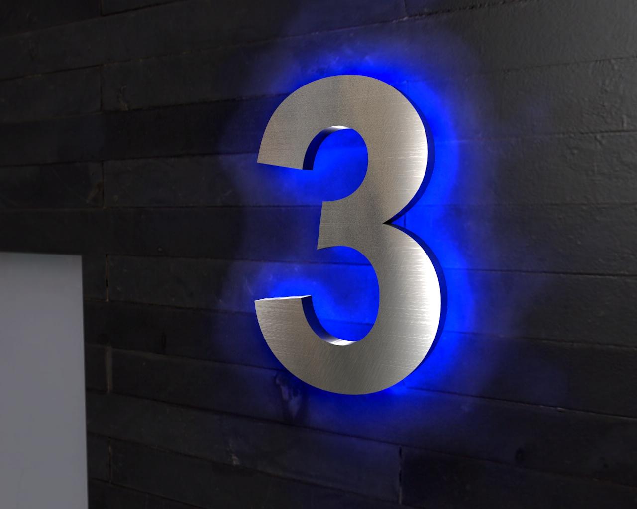 Beleuchtete Hausnummer 3 Ambilight