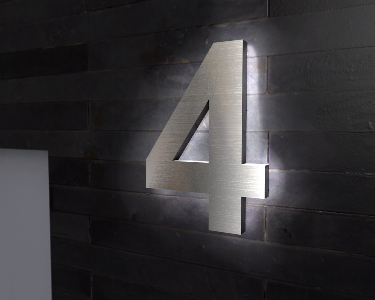 Beleuchtete Hausnummer 4 Ambilight