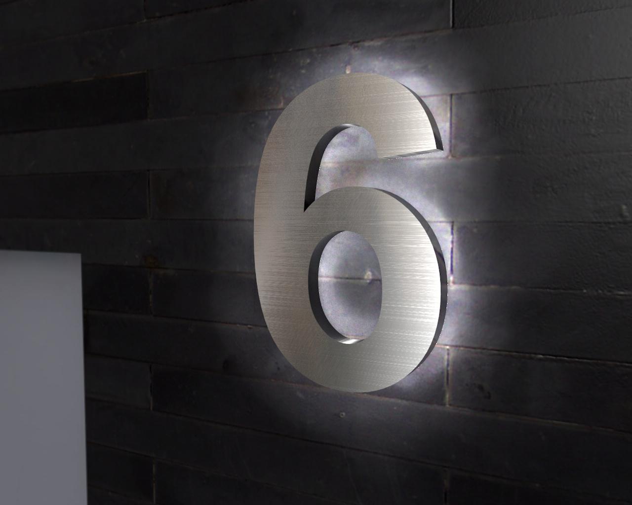 Beleuchtete Hausnummer 6 Ambilight