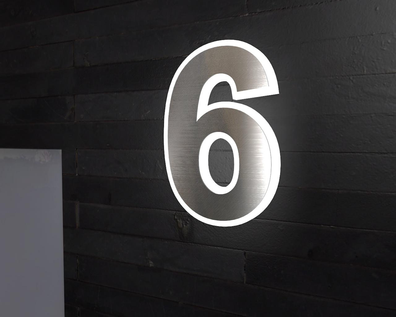 Beleuchtete-Led Edelstahl-Hausnummer 6
