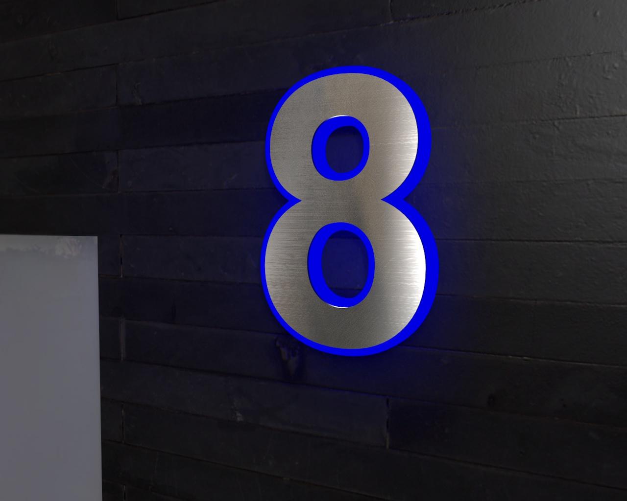 Beleuchtete-Led Edelstahl-Hausnummer 8
