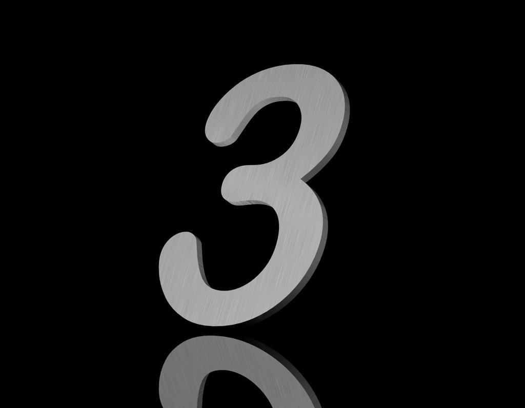 Edelstahl Hausnummer 3 200/6mm (Arial rounded)