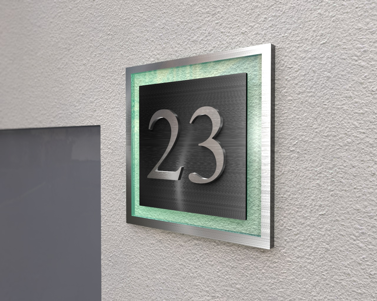 Edle Designer-Hausnummer aus Edelstahl 3 Dimensionalen Optik