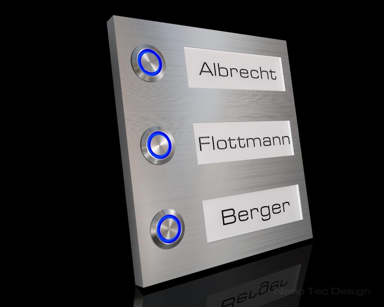 3 Familien Design Edelstahlklingel mit Led- Namesbeleuchtung zum austauschen