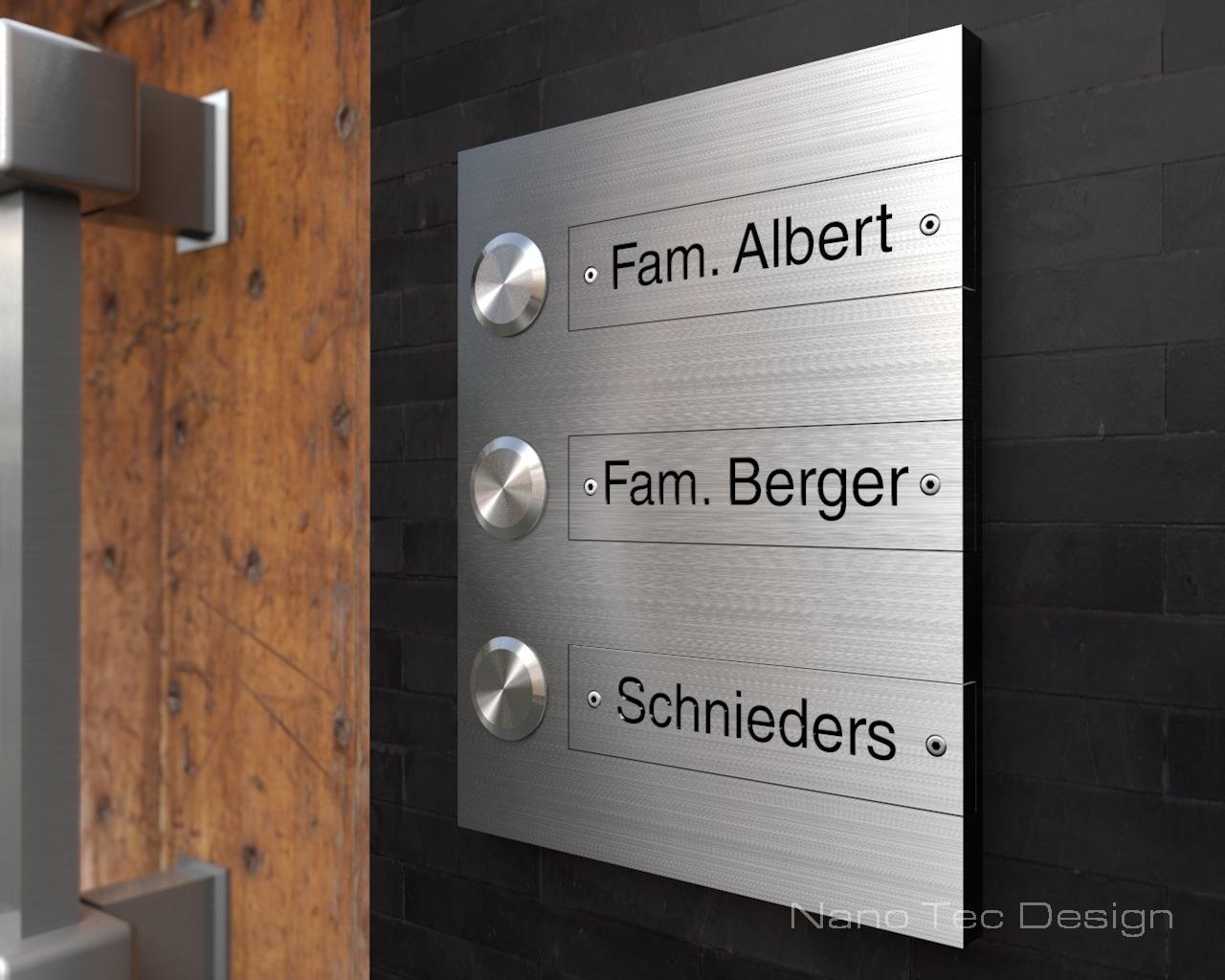 3 Familiehaus Design Edelstahlklingel mit Gravurschild zum austauschen